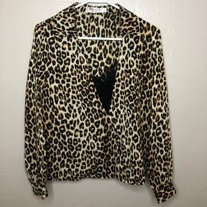 Cheetah Print Long Sleeve Blouse